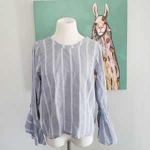 Collective Concepts Striped Top Boho Sleeves Med